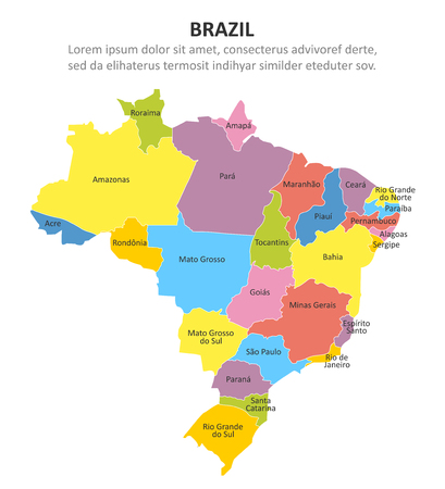 Brazil multicolored map with regions. Vector illustration Imagens - 121372355