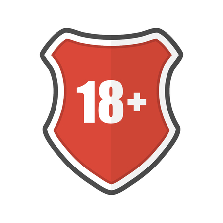 Shield with 18 plus in a flat design. Vector illustration