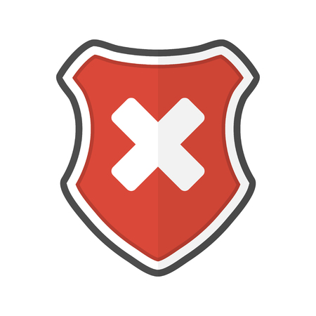 Shield with cross in a flat design. Vector illustration