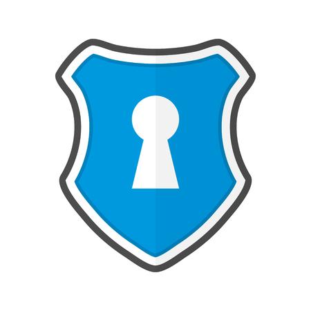 Shield with keyhole in a flat design. Vector illustration Ilustração