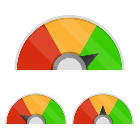 Set di misuratore di soddisfazione del cliente. Icone del tachimetro
