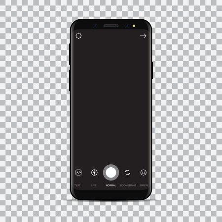 New smartphone with camera application. Vector illustration