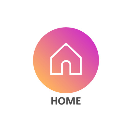 Home linear icon in gradient circle for social media