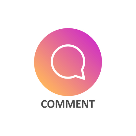 Comment linear icon in gradient circle for social media