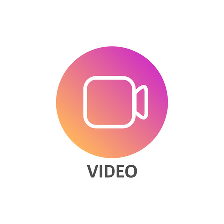 Video linear icon in gradient circle for social media