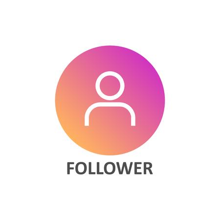 Follower linear icon in gradient circle for social media Ilustração