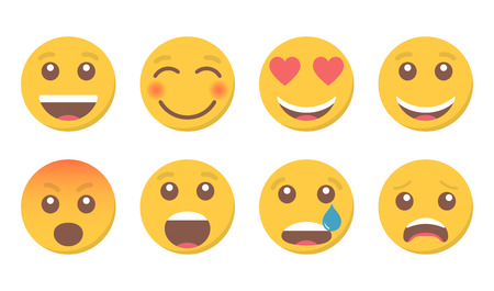 Set of smile emoji for social media Stock Illustratie