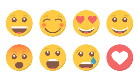 Set of smile emoji and like for social media