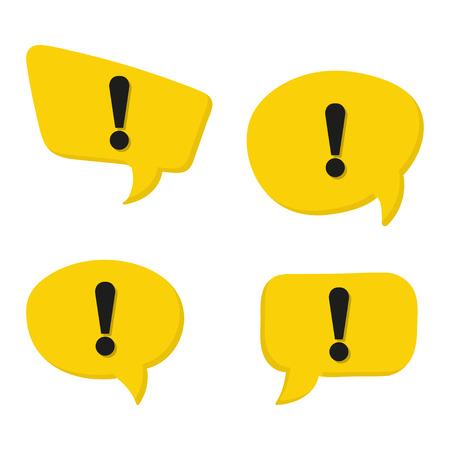 Set of danger sign on yellow speech bubbles