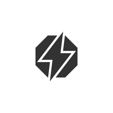 Power lightning icon in simple design. Vector illustration Vettoriali