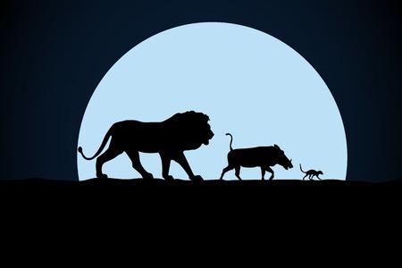 Löwe, Warzenschwein und Waldmurmeltier Silhouette auf einem Mondhintergrund Vektorgrafik