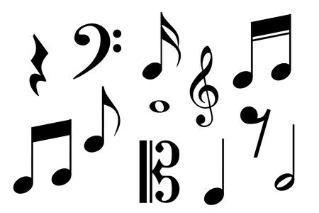 Gran conjunto de notas musicales. Ilustración vectorial