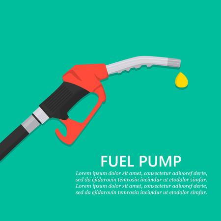 Konzept der Kraftstoffpumpe. Benzinpumpendüse mit Tropfen im flachen Design