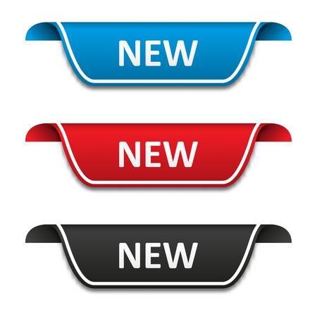 New tag label set. Attention ribbon badge. Vector illustration
