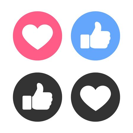 Set of thumbs up and heart icon on a white background