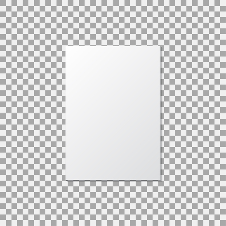 A4 paper mock up poster on a transparent background. Vector illustration Ilustração