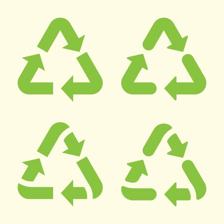 Set of recycling arrows icon. Vector illustration