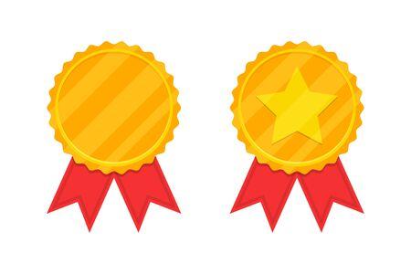 Golden award medal with red ribbon. Vector illustration Ilustração