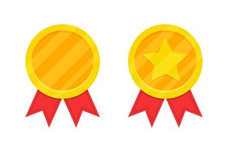 Golden award medal with red ribbon. Vector illustration Иллюстрация