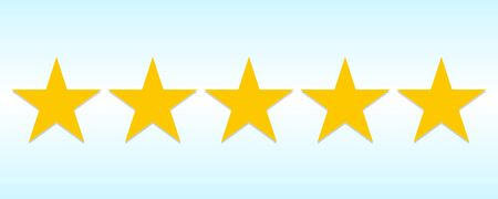 Five stars rating for customer product review on a blue background