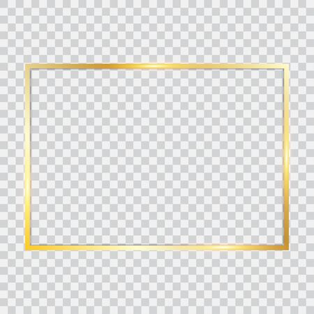 Golden frame with shadows isolated on transparent background. Vector illustration