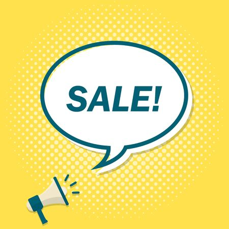 Yellow background with megaphone announcing text in speech bubble. Sale