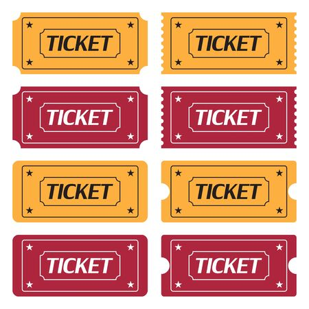 Set of ticket icons in a flat design on a white background