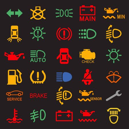 Set of car dashboard panel icons on a black background