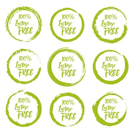 Set of lactose free grunge label sticker on a white background Çizim