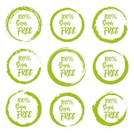 Set of sugar free grunge label sticker on a white background