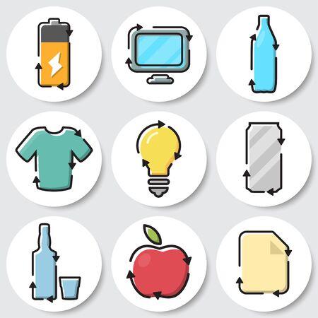 Set of recycle icons. Battery, e waste, plastic, textile, lightbulb, metal, glass, organic, paper Ilustração
