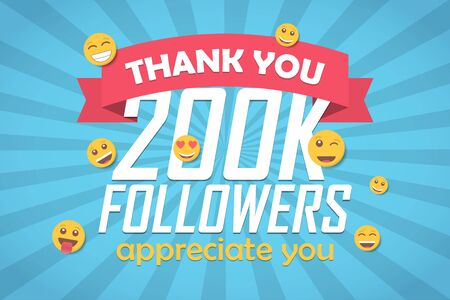 Thank you 200k followers congratulation background with emoticon. Vector illustration