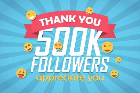 Thank you 500k followers congratulation background with emoticon. Vector illustration Illusztráció