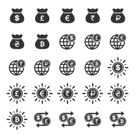 Set of money icons in simple design. Vector illustration