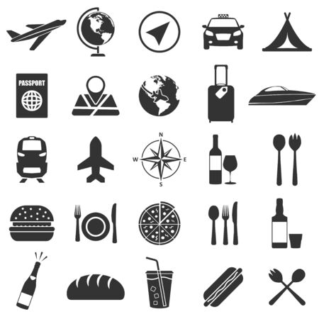 Set of travel and food icons in simple design. Vector illustration
