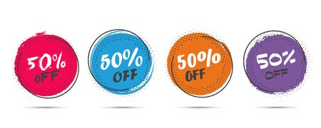 Set of grunge sticker with 50 percent off in a flat design with halftone. For sale, promotion, advertising Иллюстрация