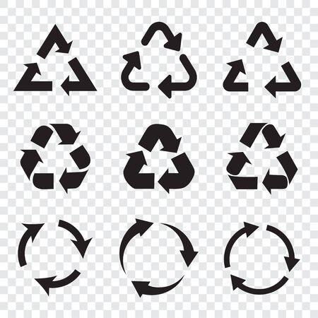 Set of black recycle arrows icons on a transparent background in a flat design Ilustração