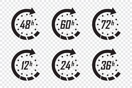 Set of hours clock arrows. Time icons on a transparent background