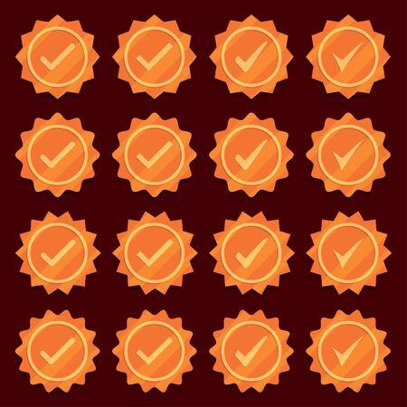 Set of bronze check mark medal icons. Profile verification icons Illusztráció