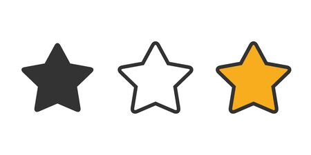 Set of stars icons on a white background in a flat design