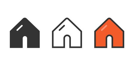 Set of home icons on a white background in a flat design