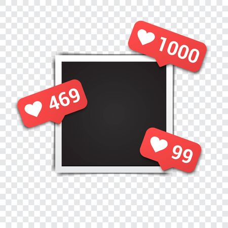 Photo frame with likes for social media on a transparent background Иллюстрация