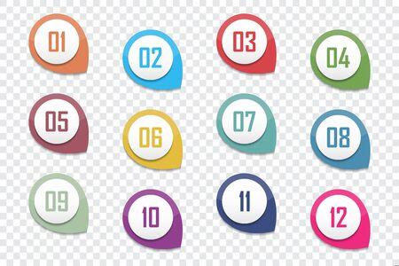 Set of number bullet point 1 to 12. Vector illustration