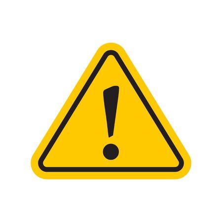 Yellow hazard warning attention icon with exclamation mark symbol Ilustração