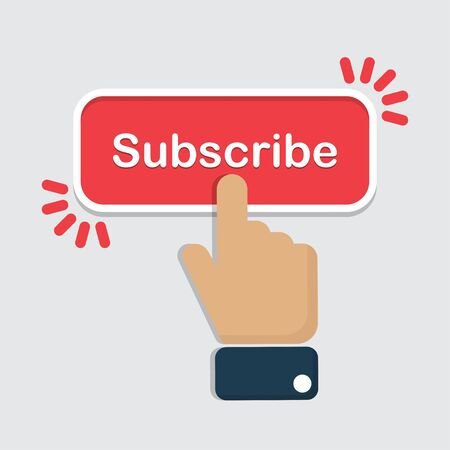 Hand click on subscribe button in a flat design