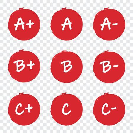 Set of grade result red circles on a transparent background Ilustração