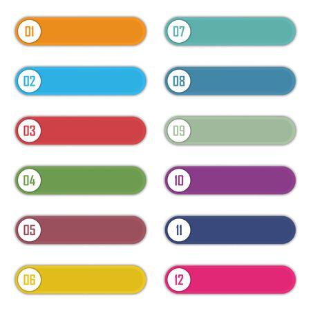 Set di punti elenco numero da 1 a 12. Modello di elementi infografici. Illustrazione vettoriale Vettoriali