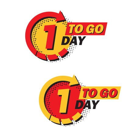 Set of countdown left days with arrow and halftone in a flat design. Announcement icons for promotion