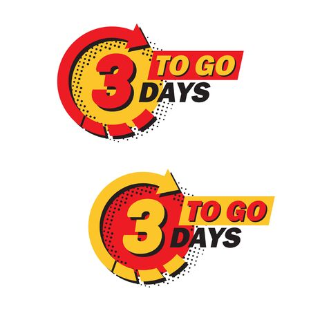 Set of countdown three left days with arrow and halftone in a flat design. Announcement icons for promotion Banque d'images - 131835834
