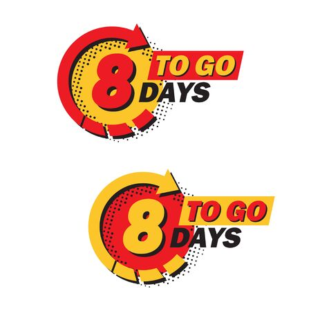 Set of countdown eight left days with arrow and halftone in a flat design. Announcement icons for promotion